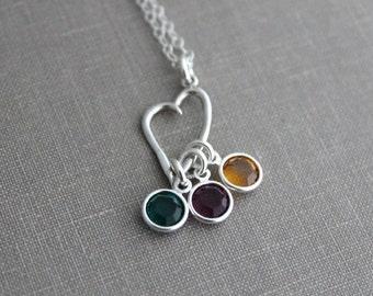 Sterling silver Mother's Small Heart Charm Necklace with Swarovski Crystal birthstones, Choose qty of birthstones, Gift Mom, dangling stones