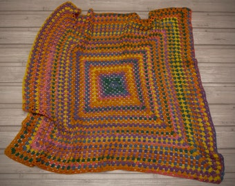 Square colourful blanket. Perfect for babies. Crochet blanket. Crochet home decoration. Baby blanket.