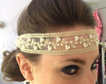 1920s children's bridesmaid Pearl and Lace Flapper Headband