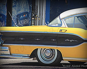 5 x 7 matted photo, classic car yellow Pontiac Chieftain, Route 66