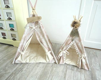 Small size pet teepee including pillow. Chihuahua, rabbit, kitten bed. Small pet home. tepee wigwam