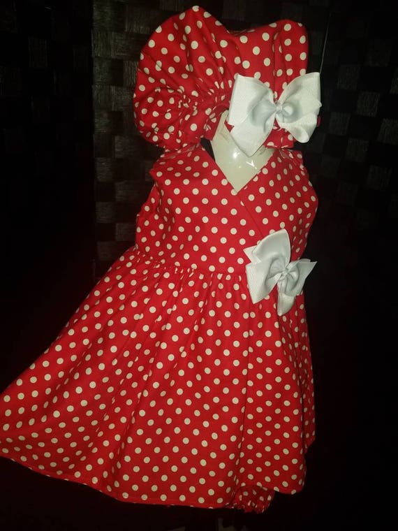 Minnie Mouse, Family Dresses, Baby Matching Dress, Matching Dress, Mom Child Dress, Christmas Gift, Bloomers Dress Set, Sister Dresses