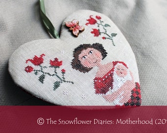 MOTHERHOOD official printed cross stitch pattern, primitive, mother, baby, sampler