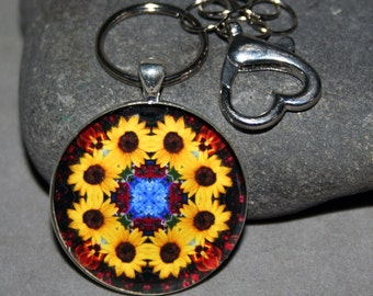 Sunflower Purse Charm Bag Charm Keychain Mandala Boho Chic Sacred Geometry Hippie Kaleidoscope Unique Gift For Her Mod Vibrant Illumination
