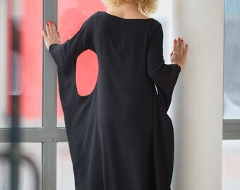 Plus Size Dress, Maxi Dress, Trendy Plus Size Clothing, Japanese Clothing, Black Maxi Dress, Kimono Dress, Gothic Wedding Dress, Black Dress