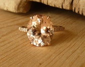 Oval Morganite and Half Eternity Diamond Ring - for AB