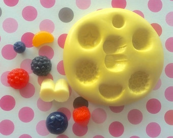 FRUITS Silicone MOLD - Blueberry Mold, Fondant Mold, Craft Supply, Banana Mold, Dessert Mold, Strawberry Mold, Chocolate Mold, Fondant Molds