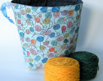 Sock Sack. Two at a Time sock knitting bag. Deluxe Project Bag with built in yarn organisation