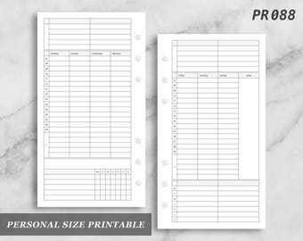 Personal Size Printable Timed Vertical Wo2P Tasks Habit Tracker Daily Schedule Week on 2 Two Wo2 Weekly Digital Download PR088