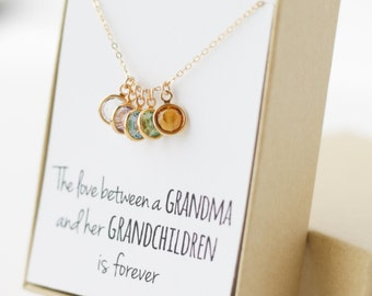 Birthstone Charm Necklace - Grandma Gift - Gifts for Grandma - Grandmother Gift - Grandmother Necklace - Grandma Gift from Grandchildren
