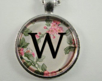 """Initial """"W"""" Necklace -- Spring pattern Personalized Letter W Necklace, Wedding Necklace, Bridesmaid Necklace, Hen Night Necklace, Friendship"""