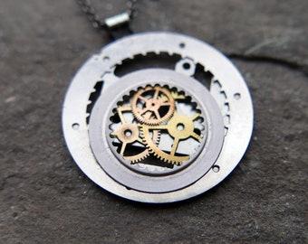 "Watch Parts Pendant ""Beid"" Cosmic Alien Delicate Beautiful Mechanical Watch Sculpture Necklace Industrial Steampunk Art Mechanical Mind"