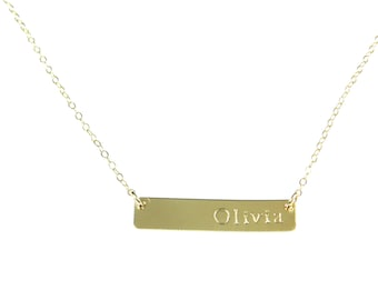 Gold Bar Name Necklace. The Jessica.