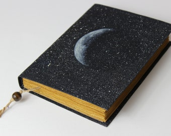 MOON - journal, travel journal, book journal, antique diary, notebook, old paper