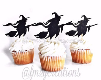 Halloween Cupcake Toppers   Witch Glitter Cupcake Toppers   Cupcake Toppers   Halloween Cupcakes   Halloween Party   Halloween Decoration
