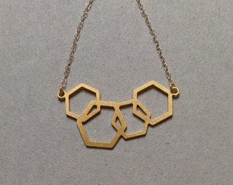 Gold Geometric Hexagon Cluster Necklace