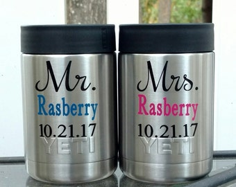 Customized Mr and Mrs gift, Personalized wedding gift, Personalized Mr and Mrs yeti colster, Set of 2 Yetis, Bridal gift