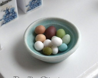 Blue Bowl of Exotic Chicken Eggs - Dollhouse Miniature Food - Supplies - Easter Eggs