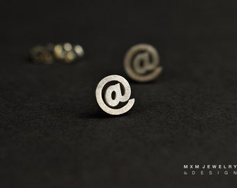 Sterling Silver 'At' @ Sign Stud Earrings