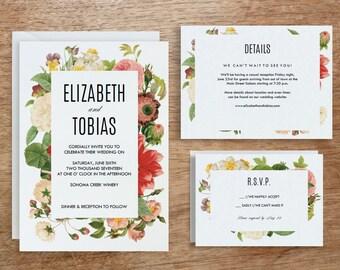 Printable Wedding Invitation Template | INSTANT DOWNLOAD | Lush Florals | DIY | Editable Adobe pdf | Response and Info Card Set