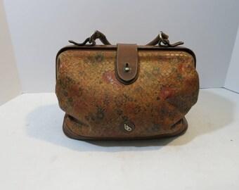 Vintage Doctor's bag purse Leather Floral pattern