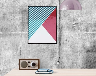 Abstraction, retro poster, wall decor, abstract art, digital poster,instant download, Printable, Wall Art, geometric shapes