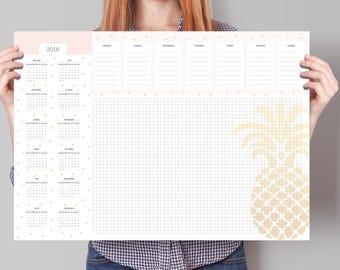 Kalender 2018, große Deskpad Kalender 2018, Schreibtisch Kalender 2018, Wochenplaner mit Kalender 2018, Wochenkalender 2018, Kalender Planer 2018