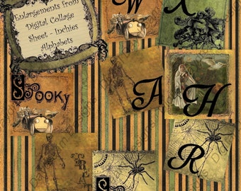 Digital Download Printable Collage Sheet 1 x 1 Inchies size - Halloween Alphabets Set 1