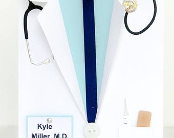 Handmade Medical School Graduation Card, Doctor Card, White Coat Ceremony, MD, DO, Doctor Thank You, Male Doctor, Physician, Vet Card
