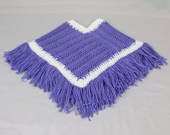 Baby and toddler BoHo poncho Fringed poncho Lavender / white crocheted poncho