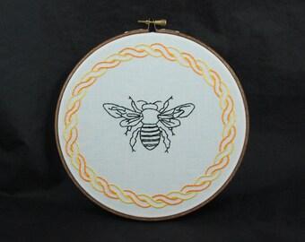 Bee Embroidered Hoop Art