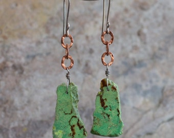 TURQUOISE earrings, DECEMBER Birthday, DECMBER birthstone, silver and copper earrings, sterling silver