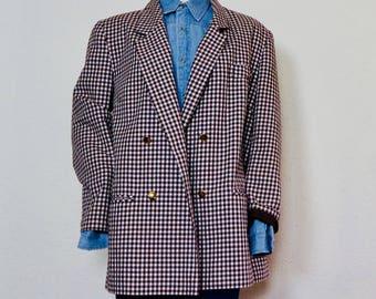 Vintage blazer   geruit jasje   oversized blazer   checked blazer   plussize vintage