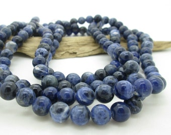 Natural Blue Sodalite Round Bead, Blue Stone Bead,  8mm (22)