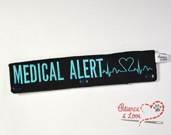 1 Medical Alert with heart EKG, Leash Sleeve, customizable, custom embroidered leash wrap, sign, service animal, working dog sign