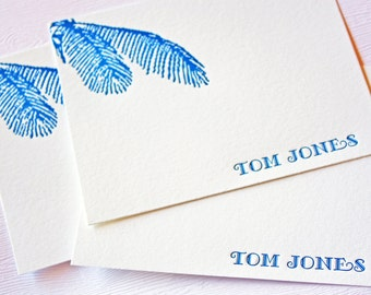 Personalized Letterpress Stationery Tropical Leaves Navy Blue