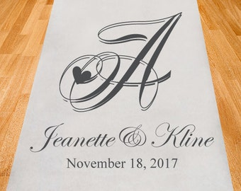 Hearty Monogram Personalized Aisle Runner - Wedding Aisle Runner -Personalized Wedding Ceremony Aisle Runner-Plain White Aisle Runner(ppd3)