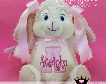 Personalized Bunny Rabbit Stuffed Animal Plush Bunny Custom Embroidery Birth Announcement