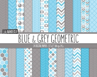 Geometric Digital Paper Package with Blue and Grey Backgrounds. Printable Papers Set - Geometric Patterns. Digital Scrapbook