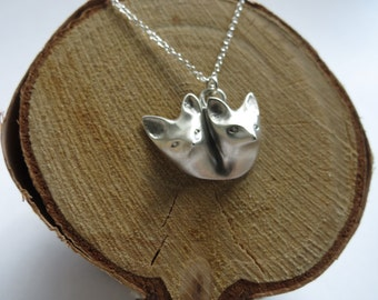 Little fox lovers neckpiece in Sterling Silver. Lover's layering Necklace. Sterling Silver statement Necklace. Gift for her. Valentines gift