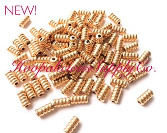 10pc Vintage Rose Gold Coil Spacer Beads. Very Rare Old Stock. FAST Shipping w/Tracking for US Buyers.