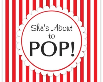 Baby Shower About to Pop labels, Red Stripes, Square She's About to Pop Stickers, Baby Shower Labels