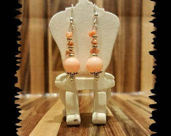 Pink glass bead and coral earrings