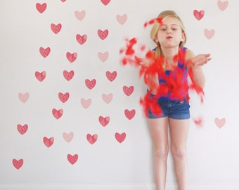 Hearts Wall Decal Girl Room Decor Valentines Heart Wall Decor Kids Decor Pink Heart Wall Decal Kids Decal. Hearts Children Wall Decal