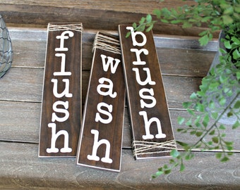 Rustic Bathroom Decor - Bathroom Sign - Farmhouse Sign - Reclaimed Wood Sign - Rustic Home Decor - Bathroom Rules Sign - Twine Sign