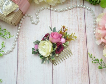 Pink Flower comb Flower girl Ivory hair comb Floral hair comb Boho comb Woodland Wedding hair comb Bridal hair comb Spring wedding comb pink