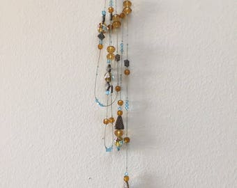 Long lariat beaded necklace