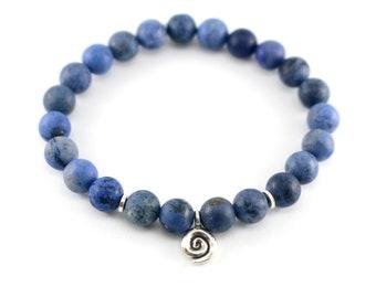 Blue Spiral Mala Bracelet, Calming Confidence Growth Meditation Bracelet, Blue Dumortierite Beaded Bracelet, Matte Dumortierite Bracelet