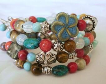 Boho Style Bracelet, Southwestern Look, Multi Color Jewelry, Bright Colors, Wrap Bracelet, Memory Bracelet, Average Size Wrist, Casual Wear