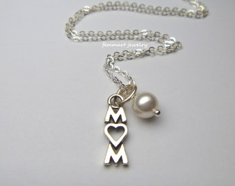 Sterling Silver Mom Charm with Heart Necklace - Mothers Day Gift - Mothers Necklace - For Mom Necklace - Mommy Jewelry